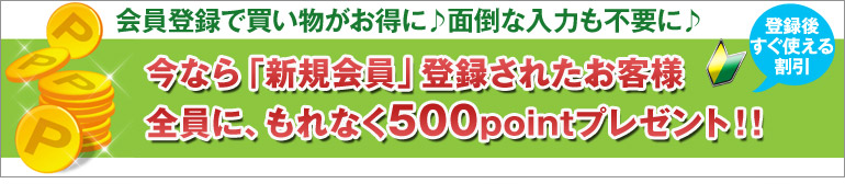今なら「新規会員」登録されたお客様全員に、もれなく500pointプレゼント!!